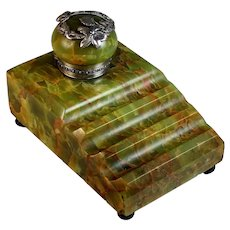 Large Art Deco French Green Onyx Inkwell Pen Holder