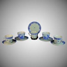 Delft Blue Hand-painted Tea Cups Saucers Porceleyne Fles Set of 12