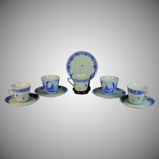 Delft Blue Hand-painted Tea Cups Saucers Porceleyne Fles Set of 12