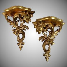 Pair of Ornate Florentine Carved Wall Shelf/ Bracket