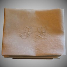 Antique French Monogrammed Napkins J L Set of 12