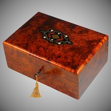 Antique French Dresser Box with Wood and Copper Inlays
