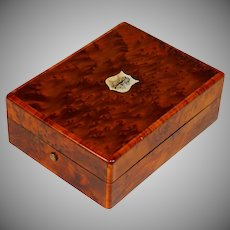Antique French Inlaid Wood Watch Holder Box