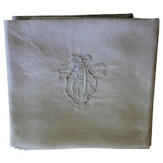 Antique Ecru Monogrammed Napkins E J Set of 9