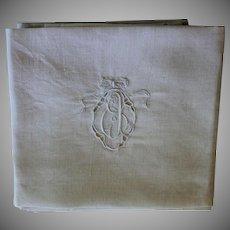 Antique Ecru Monogrammed Napkins E J Set of 9