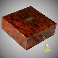 Antique French Burl Amboyna Dresser Box with Brass Center Medallion