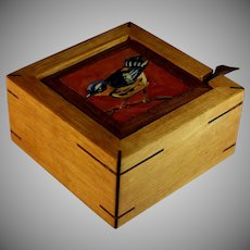 Hand Crafted Painted Dresser Box with Bird
