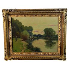 French School Oil on Panel River Landscape Signed