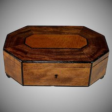 Antique French Inlaid Wood Top Box, Irregular Octagonal Shape
