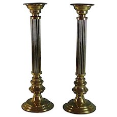Pair of Large Vintage Brass Candle Sticks