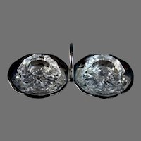 Erquis Silverplate Double Salt Pepper with Crystal Inserts and Spoon
