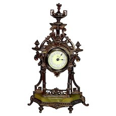 Antique German Shelf Clock with Porcelain Dial and Onyx Base *