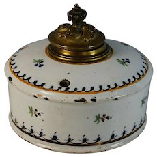 Antique Round French Faience Inkwell with Lid and Insert