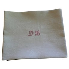 Set of 10 Antique French Monogrammed Napkins D L plus 2