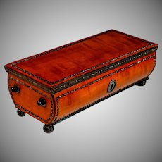 Antique Palais Royal Satin Wood Keepsake Box with Contrasting Inlays