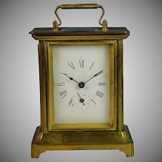 1878 French Carriage Officer's Alarm Clock Grand Prix de L'Horlogerie