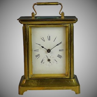 1878 French Carriage Officer's Alarm Clock Grand Prix de L'Horlogerie