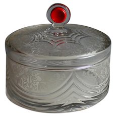 Etched Heisey Box or Covered Bowl with Red Dot Lid