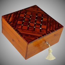Antique French Inlaid Marquetry Specimen Box with Key