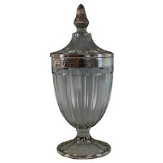 Ribbed Heisey Candy Jar and Cover with Hammered Sterling Overlay