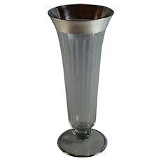 "Large Etched Heisey Footed 12"" Vase with Hammered Sterling Overlay"