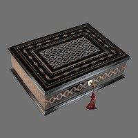 Antique Napoleon III Second Empire Boulle Marquetry Ebonized Inlaid Box