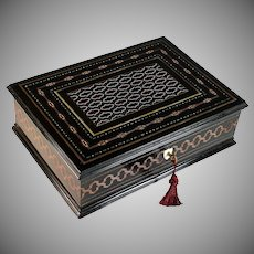 Antique Napoleon III Second Empire Boulle Marquetry Ebonized Inlaid Box
