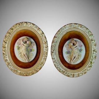 Pair of Antique Porcelain Relief Plaques Courting Couple