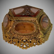 Antique Ormolu Glass Jewelry Trinket Box Casket Five Sided