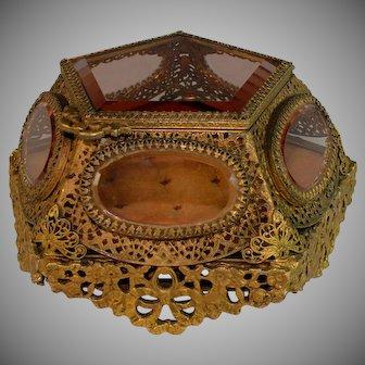 Antique Ormolu Glass Jewelry Trinket Box Casket Five Sided