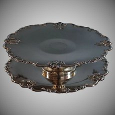 Vintage Fine Silver Plated Cake Stand with Plate- Embossed Flowers