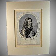 Antique Engraving of Fredrich C von Hammerstein by Jeremias Falck (1609 – 1677)