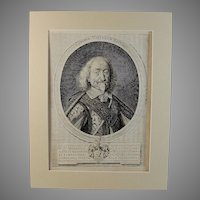 1653 Engraving of Hendrik Willem Van Starhemberg by Joachim von Sandrart