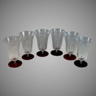 Elegant Stemware Etched Water Glasses Clear Bowl Red Feet Set of 4