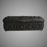Antique Repousse Bronzed Copper Box Decorated on Five Sides