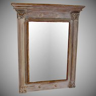 Vintage French Directoire Style Gilt Wood and Painted Beveled Mirror