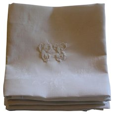 Set of 9 Antique French Monogrammed Napkins C S