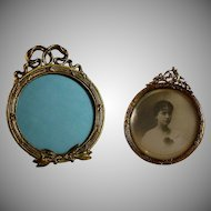 Set of Antique Round French Bronze Bow Top Photo Frames Easel Back