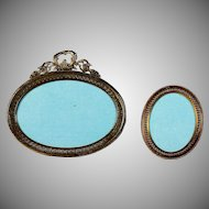Set of French Antique Round Bronze Bow Top Photo Frames Easel Back B
