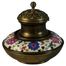 Chinese Golden Brass Canton Enamel Inkwell  with Fitting Bowl