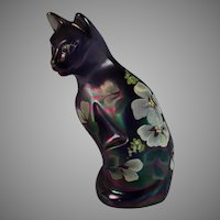 Signed Fenton Art Glass Iridescent Sitting Cat Kitten Hand Painted