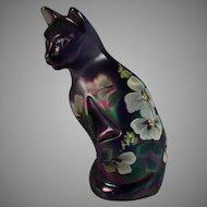 Signed Fenton Art Glass Iridescent Sitting Cat Kitten Hand Painted