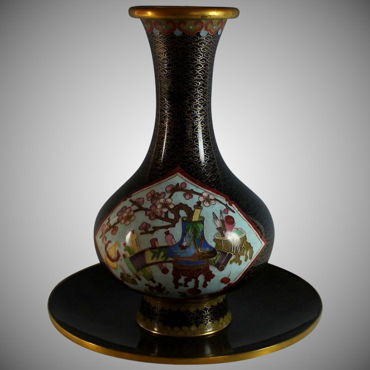 Chinese Cloisonne Vase Cherry Blossoms With Bowl Juliet Jones