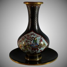 Chinese Cloisonne Vase Cherry Blossoms with Bowl
