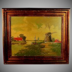 Dutch School Oil on Canvas Landscape with Windmill
