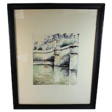 Watercolor View of the Seine by French listed artist Stephane Wrobel (1927-2007)