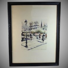 Original Watercolor Les Bouquinistes by French listed artist S Wrobel (1927-2007)