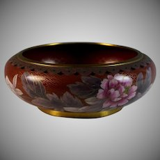 Vintage Chinese Cloisonne Enamel Basin Bowl Bird and Flower Red Ground