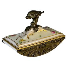 Bradley and Hubbard Inkwell and  Floral Blotter