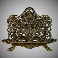 Large Antique Bronze Letter Holder Stand